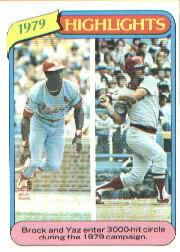 1980 Topps #1 Lou Brock HL/Carl Yastrzemski
