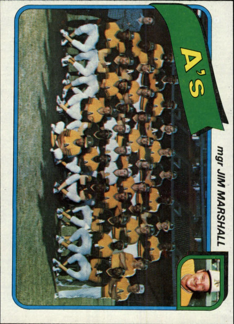 1980 Topps #96 Oakland Athletics CL/Jim Marshall MG