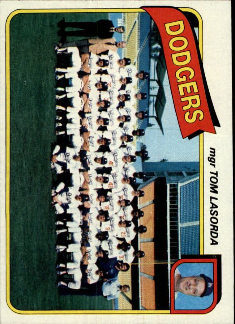 1980 Topps #302 Los Angeles Dodgers CL/Tom Lasorda MG