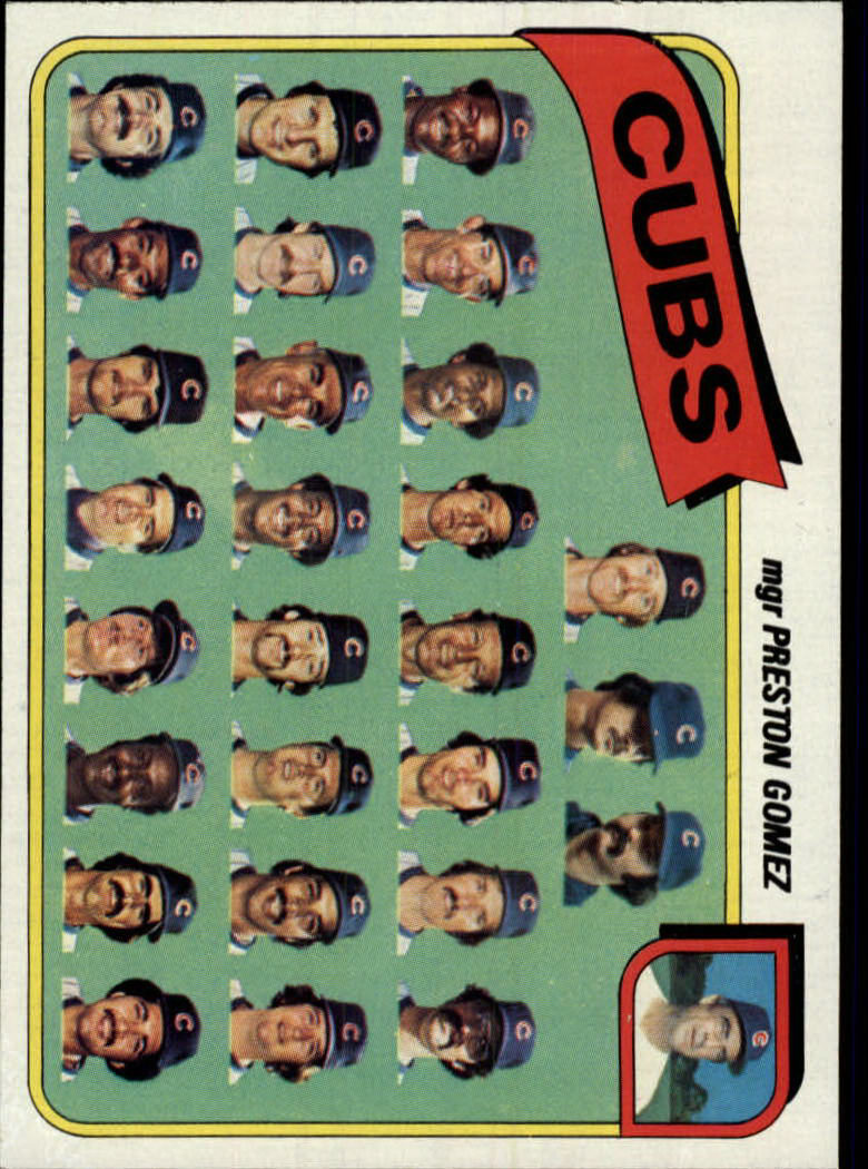1980 Topps #381 Chicago Cubs CL/Preston Gomez MG