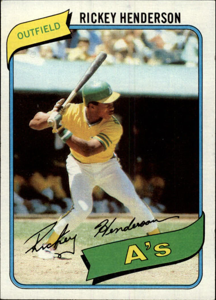 1980 Topps #482 Rickey Henderson RC/UER 7 steals at/Modesto should be Fresno front image