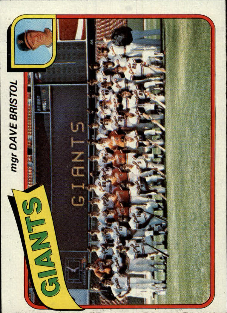 1980 Topps #499 San Francisco Giants CL/Dave Bristol MG