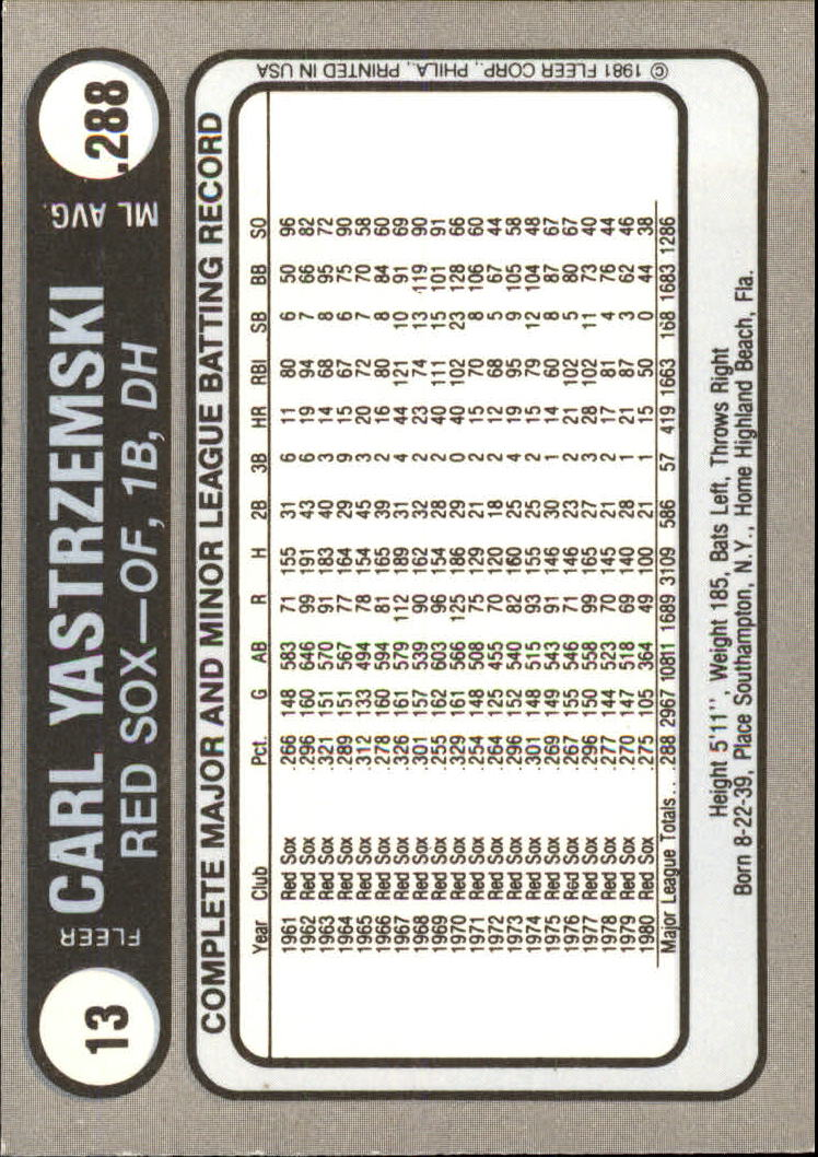 1981 Fleer Star Stickers #13 Carl Yastrzemski back image