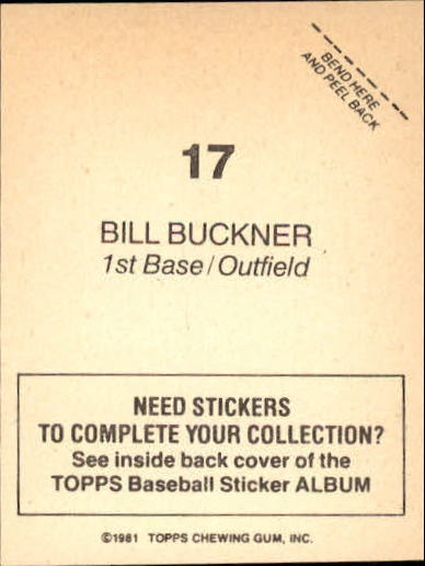 1981 Topps Stickers #17 Bill Buckner back image