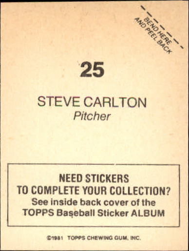 1981 Topps Stickers #25 Steve Carlton back image
