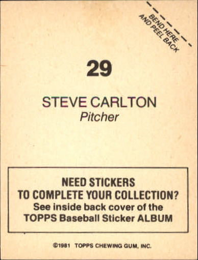 1981 Topps Stickers #29 Steve Carlton back image