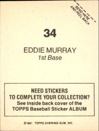 1981 Topps Stickers #34 Eddie Murray back image
