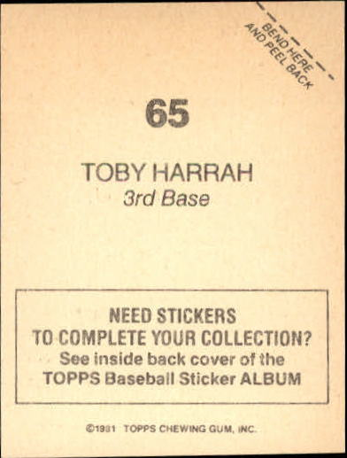 1981 Topps Stickers #65 Toby Harrah back image