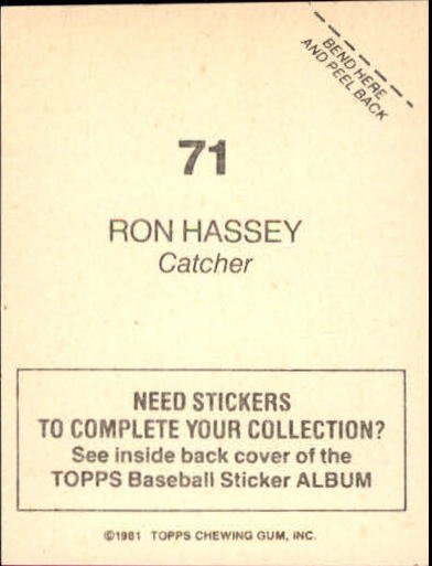 1981 Topps Stickers #71 Ron Hassey back image