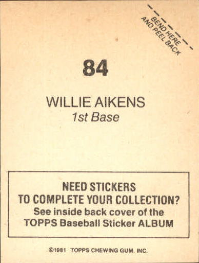 1981 Topps Stickers #84 Willie Aikens back image