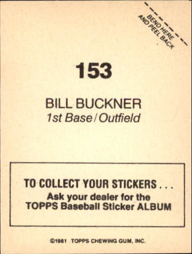 1981 Topps Stickers #153 Bill Buckner back image
