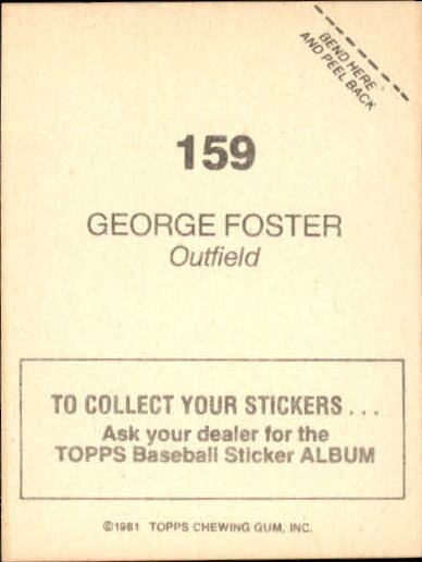 1981 Topps Stickers #159 George Foster back image