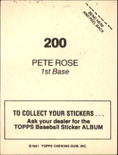 1981 Topps Stickers #200 Pete Rose