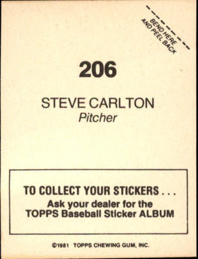 1981 Topps Stickers #206 Steve Carlton back image