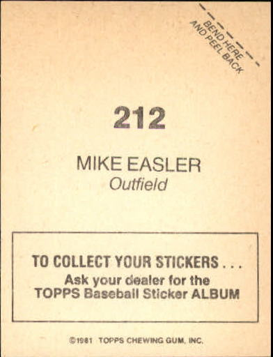 1981 Topps Stickers #212 Mike Easler back image