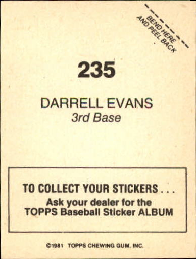 1981 Topps Stickers #235 Darrell Evans back image