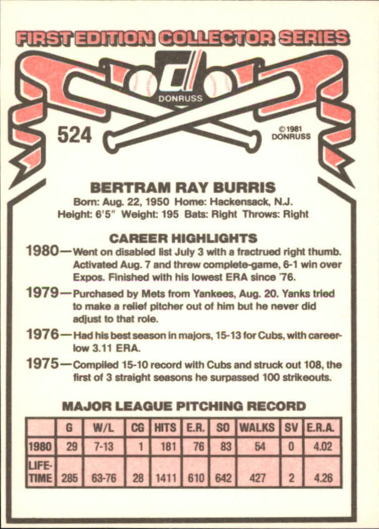 1981 Donruss #524A Ray Burris P1/Career Highlights:/Went on ...~ back image