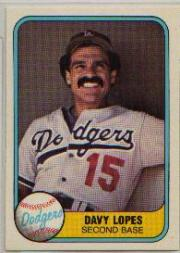 1981 Fleer #114B Dave Lopes P2/No hand
