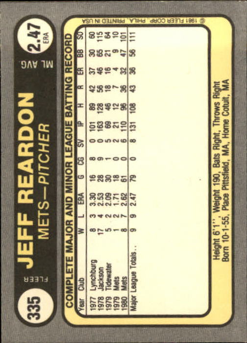 1981 Fleer #335 Jeff Reardon RC back image