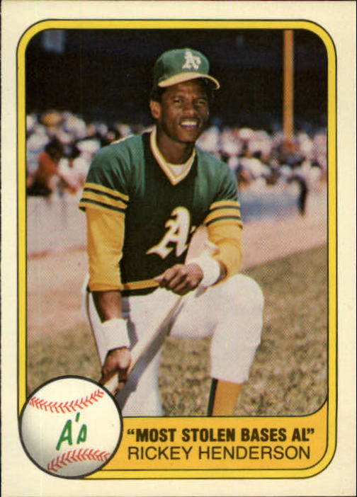 1981 Fleer #351 Rickey Henderson/Most Stolen Bases AL