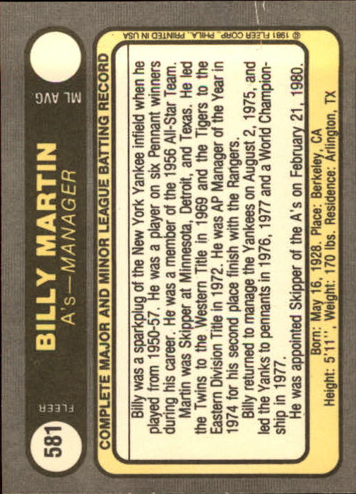 1981 Fleer #581 Billy Martin MG back image
