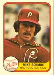 1981 Fleer #640 Mike Schmidt P1/Portrait/Third Base/number on back 5