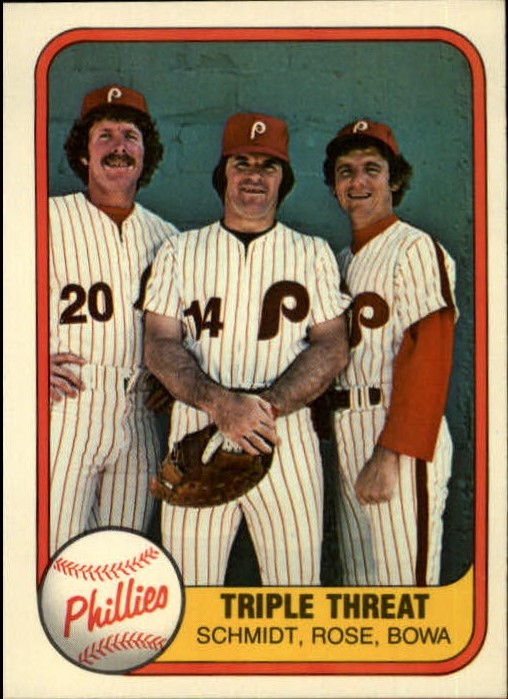 1981 Fleer #645 Pete Rose/Larry Bowa/Mike Schmidt/Triple Threat P1/No number on back