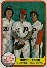 1981 Fleer #645B Pete Rose/Larry Bowa/Mike Schmidt/Triple Threat P2/Back numbered 645