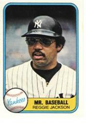 1981 Fleer #650 Reggie Jackson/Mr. Baseball P1/Number on back 79