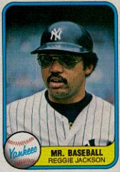 1981 Fleer #650B Reggie Jackson/Mr. Baseball P2/Number on back 650