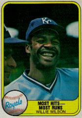 1981 Fleer #653B Willie Wilson P2/Most Hits Most Runs/Number on back 653