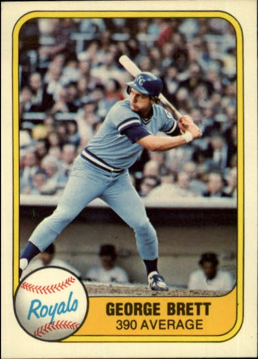 1981 Fleer #655 George Brett P1/.390 Average/Number on back 28