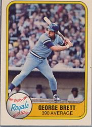 1981 Fleer #655B George Brett P2/.390 Average/Number on back 655