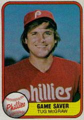 1981 Fleer #657B Tug McGraw P2/Game Saver/Number on back 657