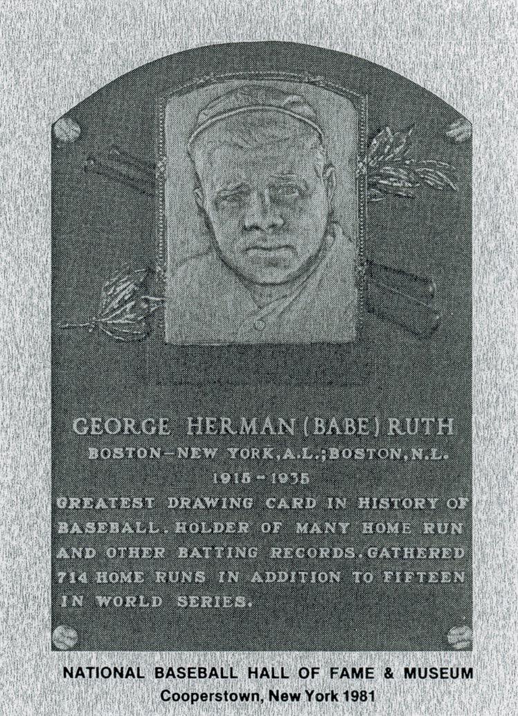 1981-89 Hall of Fame Plaque Metal #7 Babe Ruth