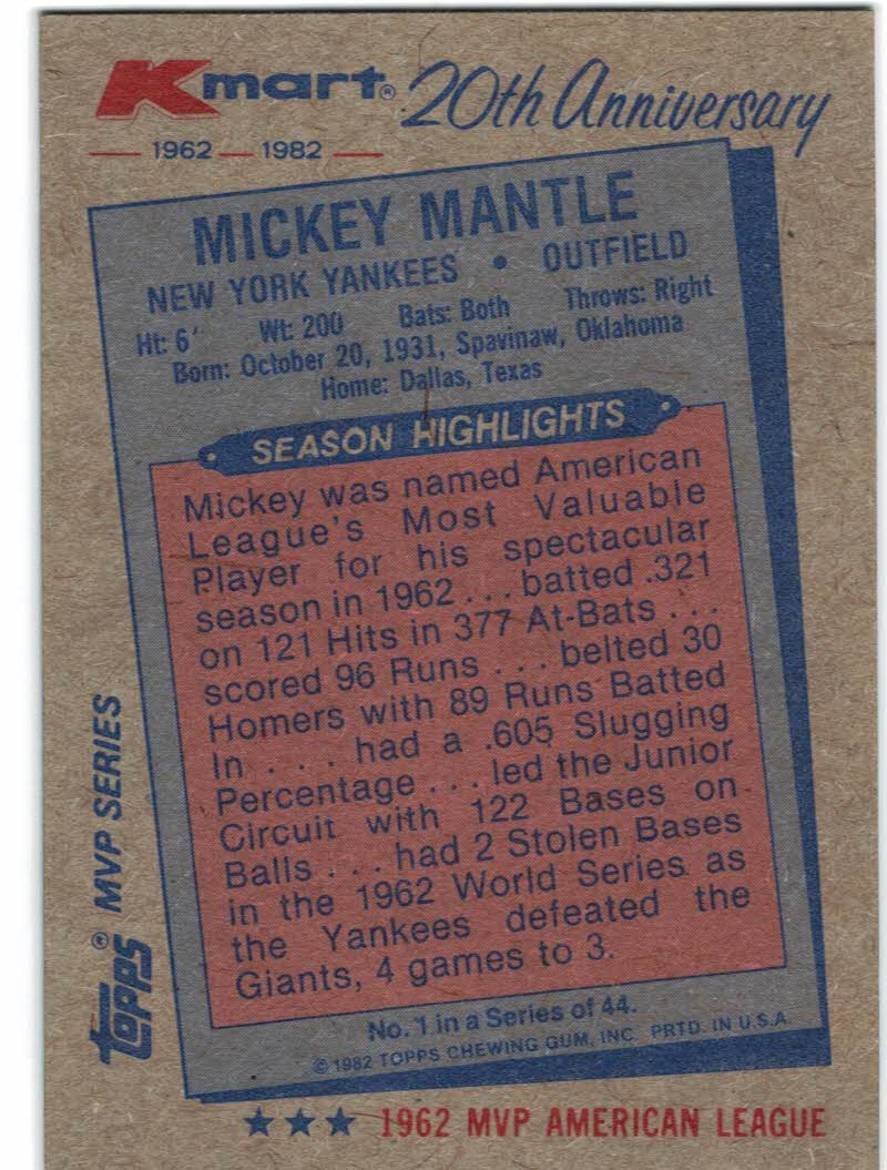 1982 K-Mart #1 Mickey Mantle: 62AL back image