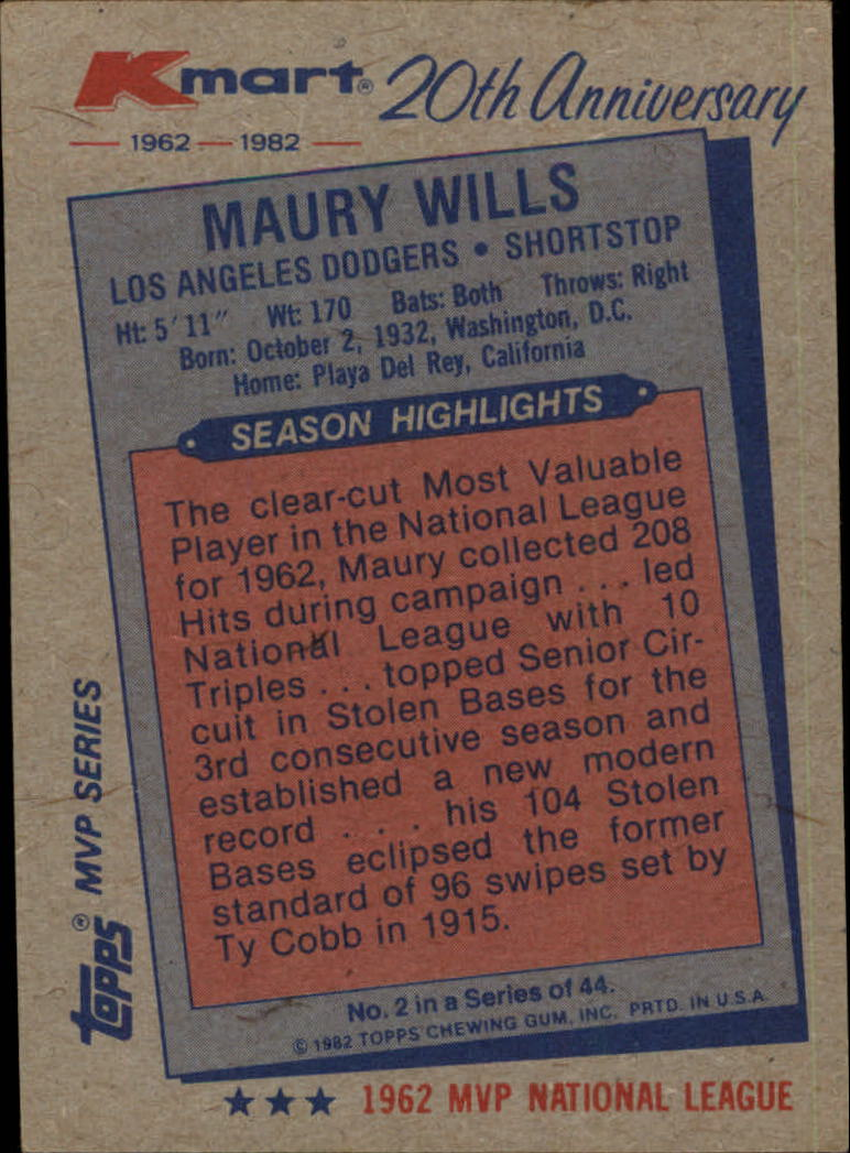 1982 K-Mart #2 Maury Wills: 62NL back image