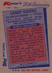 1982 K-Mart #4 Sandy Koufax: 63NL back image