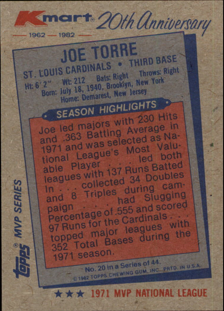 1982 K-Mart #20 Joe Torre: 71NL back image
