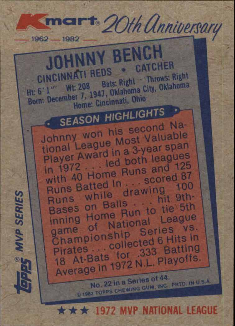 1982 K-Mart #22 Johnny Bench: 72NL