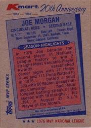 1982 K-Mart #30 Joe Morgan: 76NL back image
