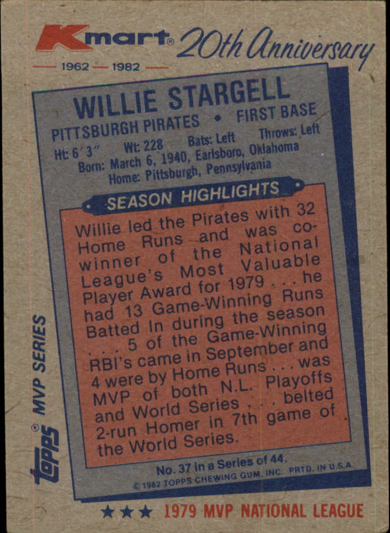 1982 K-Mart #37 Willie Stargell: 79NL back image