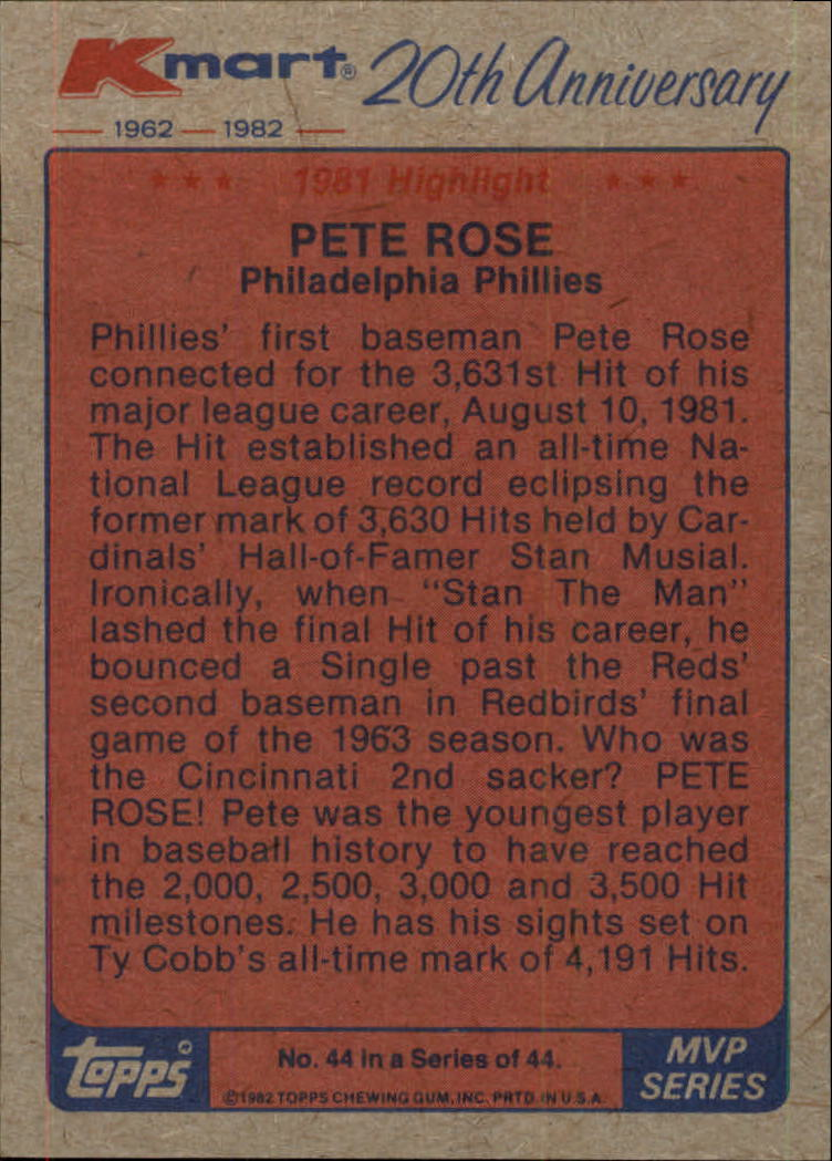 1982 K-Mart #44 Pete Rose '81 HL/(NL most hits) back image