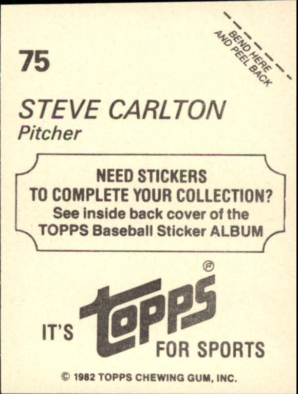 1982 Topps Stickers #75 Steve Carlton back image