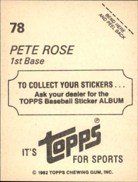 1982 Topps Stickers #78 Pete Rose