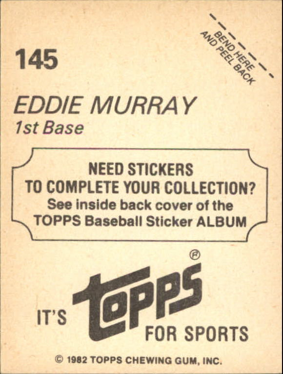 1982 Topps Stickers #145 Eddie Murray back image