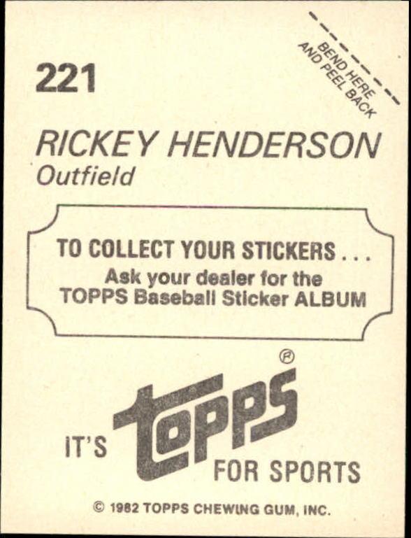1982 Topps Stickers #221 Rickey Henderson back image