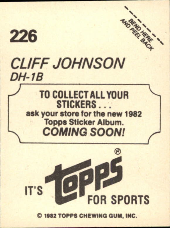 1982 Topps Stickers #226 Cliff Johnson
