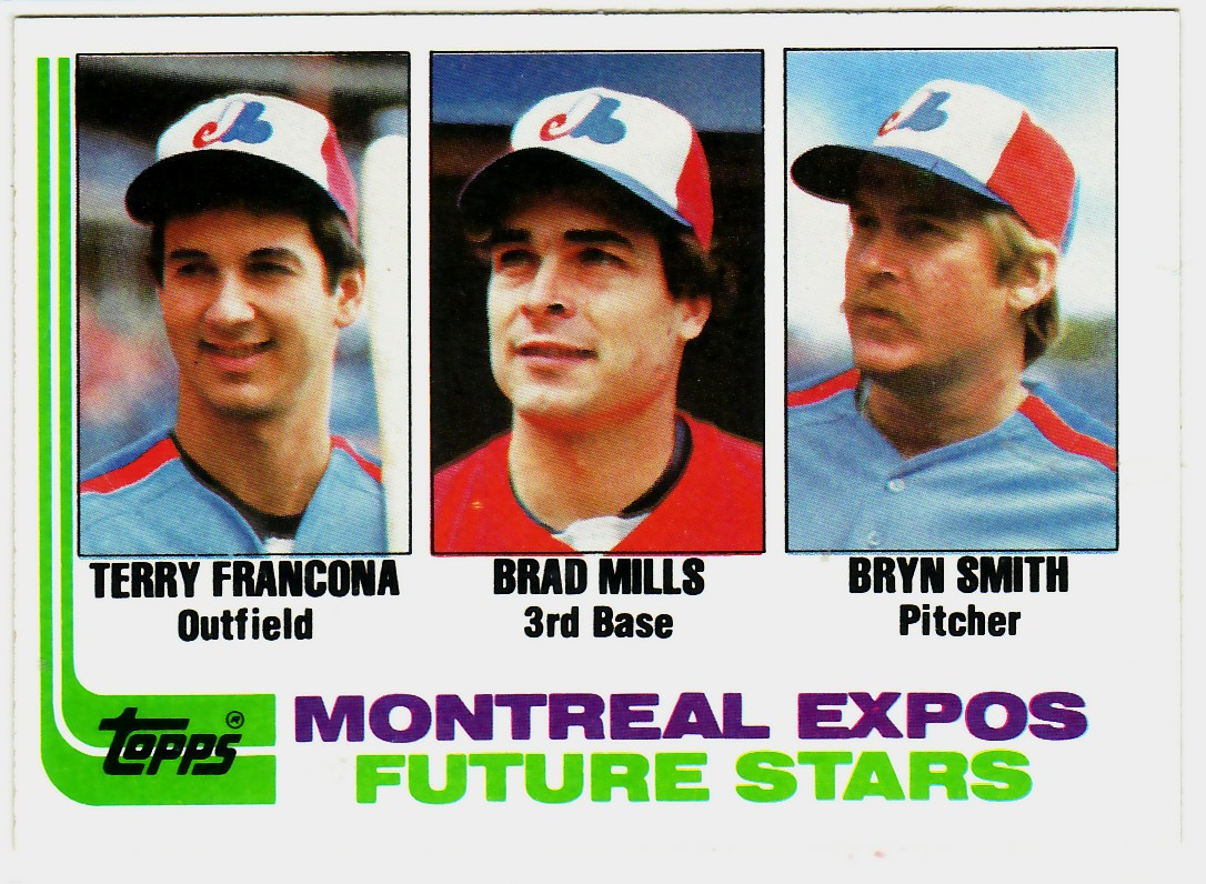 1982 Topps #118 Terry Francona RC/Brad Mills RC/Bryn Smith RC