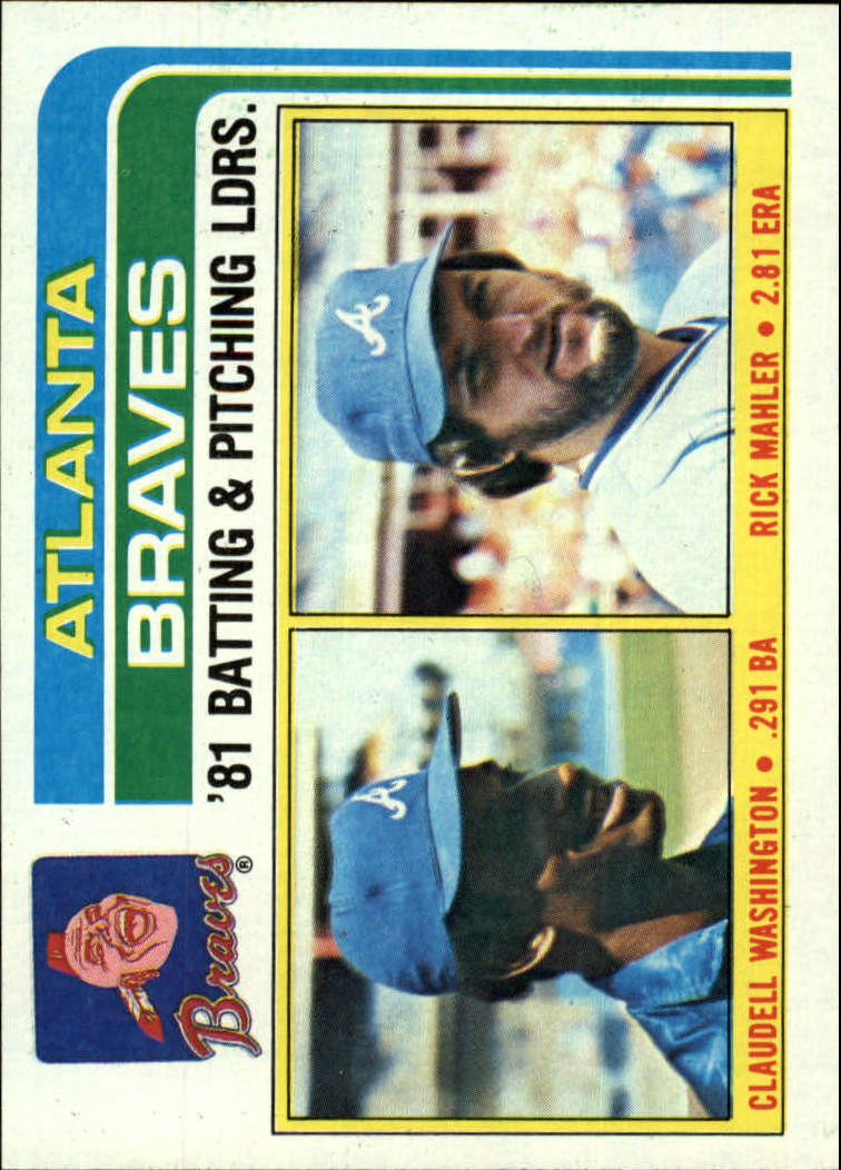 1982 Topps #126 Braves TL/BA: Claudell Washington/Pitching: Rick